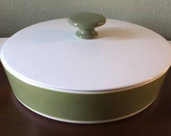 "Vintage Corningware Avocado 8.5"" Covered Casserole"