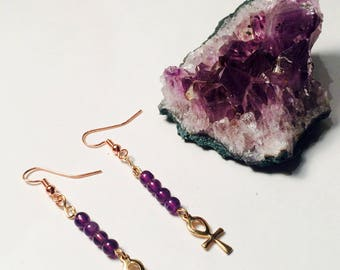 Anhk & Amethyst Crystal Earrings