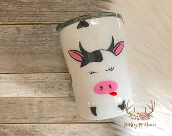 Cow Tumbler - Kid Tumbler - Cow Cup - Glitter Tumbler - Gift for Kids