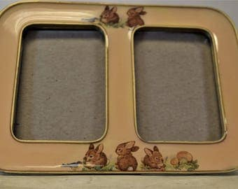 Vintage Picture Frame Bunnies Rabbits Small Photo Frame
