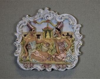 Thai Bas Relief Sculpture Porcelain Glass Thai Wall Decor