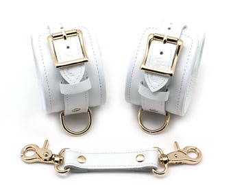 Bondage Ankle Cuffs, White Leather, Gold Metalware, BDSM cuffs, restraints, BDSM wrist cuffs, BDSM wrist cuffs  (mature)