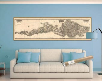 Western Isles of Scotland  - Giclée Reproduction of Historic Map of Harris, Stornoway, Lewis, Barra, Outer Hebrides of Scotland, North Uist