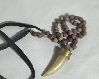 Beaded Horn Necklace