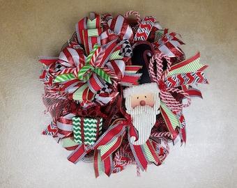Santa Wreath, Santa Claus Wreath,  Holiday Wreath, Christmas Wreath, Holiday Decor.ChristmasDecor