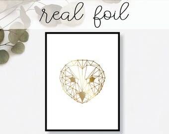 abstract owl print real gold foil minimal gold foil art - Owl Decor