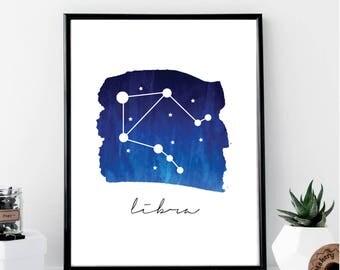 Libra Constellation Print // Minimalist // Wall Art // Typography // Fashion // Scandinavian // Boho // Modern Office
