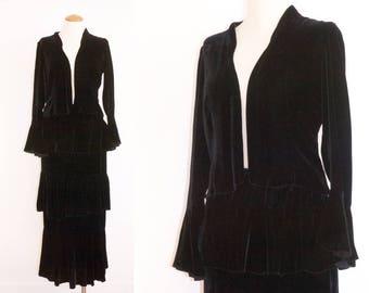 1930s Black Velvet Bolero and Tiered Skirt // Small