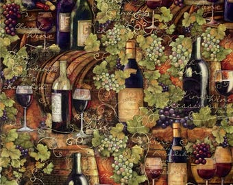 Digital Print Mia Sonoma Country Vintage Wine Bottles, Wine Glasses, and Grapes 100% Cotton Fabric SC194