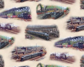 Train fabric railroad fabric rail yard cotton fabric for Train fabric by the yard