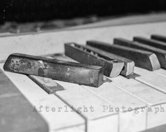 Piano Key Photograph, Black and White, Piano Keys, Vintage, Abandoned, Still Life Photo, Fine Art Photography