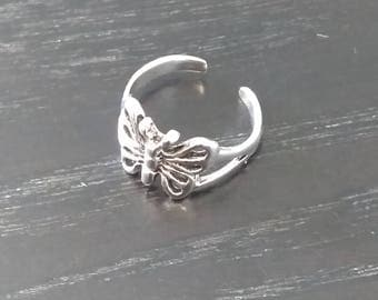 Vintage Sterling Silver Toe Ring - Butterfly Design