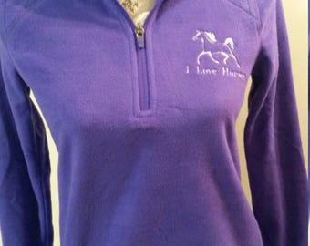 "Embroidered ""I Love Horses"" 1/4 Zip-Up Sweatshirt - XSmall"