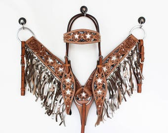 Hand Made Metallic Silver Star Headstall Leather Western Horse Trail Bridle Breast Collar Plate Fringe Barrel Racer Cowgirl Bling Tack Set