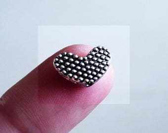 Heart Beads, Heart Charms, Heart Spacer Beads, Love Beads, Antique Silver Tone Beads, Beads for Barrings, Beading Supplies