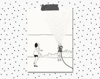 Hose Water Sprinkler Summer Illustrated Greeting Card