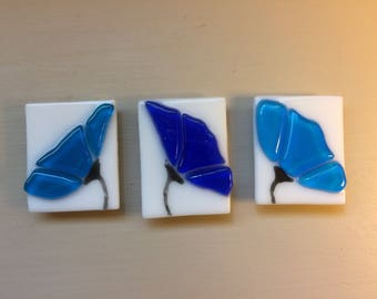 Turquoise and Cobalt Blue Flower Stained Glass Fused Kitchen Magnet Set of Three