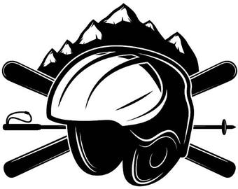 Snow Skiing Logo #1 Equipment Snowboarding Mask Skier Ski Winter Extreme Sport.SVG .EPS .PNG Clipart Vector Cricut Cut Cutting Download File