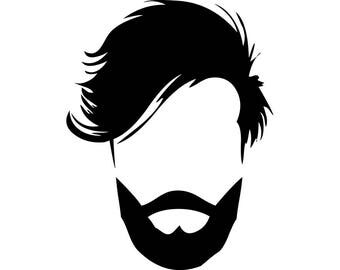 Hairstyle #26 Hairstylist Salon Barber Shop Haircut Hair Style Cut Beard Man Male Face Fashion Logo .SVG .EPS .PNG Vector Cricut Cut Cutting