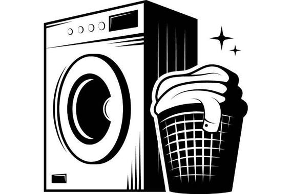 Laundry Logo 1 Washing Machine Wash Clean Clothes Maid Service Housekeeper Housekeeping SVG EPS PNG Clipart Vector Cricut Cutting File
