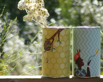 Paper Art Cans Upcycled - for Floral, Planter, Display, Centerpiece - African & Bees Patterns