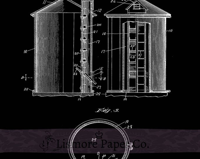 Silo Patent Prints - Farm Printable - Farmhouse - Instant Download - Farm Printable - Farm Decor - Farmhouse Style - Patent Print - Country