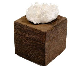 Small Driftwood Box with Quartz Crystal