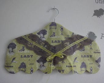 """cover wrap fabric hanger """"lady 1900"""" gray lace and lime"""