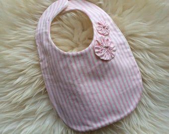 Traditional Pink Stripe Baby Bib, Dribble Bib