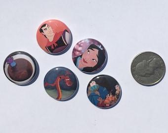 """Mulan 1"""" Pinback Button Set of 5"""