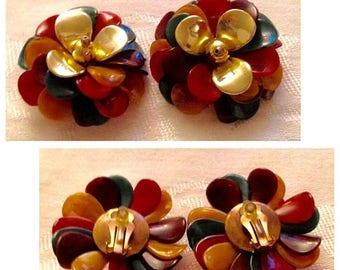 Anniversary Sale Vintage Multi Color Large Cluster Earrings