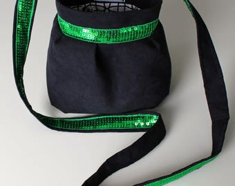 Small bag purse black and green glitter band