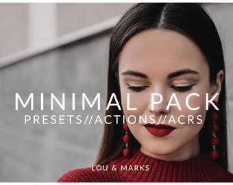 Minimal Pack for Lightroom & Photoshop Actions, Presets, ACRs for Bright Portrait and Modern Wedding Edits in Adobe Lightroom Photoshop