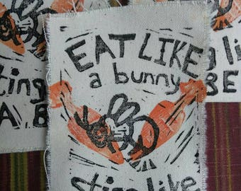 Eat Like A Bunny Sting Like A Bee Vegan Vegetarian Handmade Patch