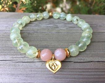 Prehnite Peach Moonstone Gold Vermeil Lotus Heart Charm Bracelet