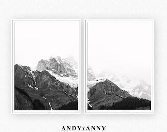 Mountain Printable Art, Black And White Prints, Poster Set of 2, Wall Art Prints Nature, Black White Wall Art, Mountain Landscape Poster