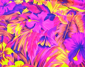 Spandex Lycra By The Yard - Tahitian Floral - Pink, Purple Neon Yellow