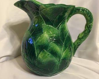 Ceramiche leonardo leaf pitcher italy