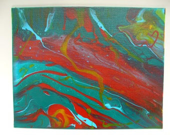 Wavy Splash Acrylic Painting on Flat Canvas 8x10