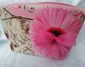 Special holidays 692 toiletry bag printed off-white/light pink and fuchsia organza bow