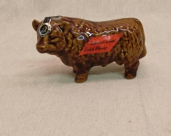 Vintage Rutherfords Blended Scotch Whisky decanter, miniature Bull, Highland bull.
