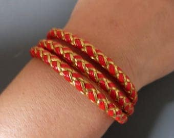 Gold & red nautical leather bracelet