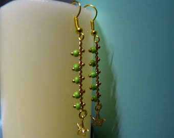 Chain gold light green seed beads & Origami earrings