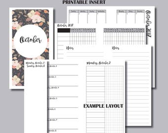 A6 Size | MONDAY Start - OCTOBER 2017 | Month/Weekly/Daily UNTIMED Printable Travelers Notebook Insert