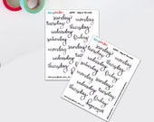 Days of the Week Stickers   Weekday Stickers   Hand lettered Stickers   Bujo Stickers   Bullet Journal (DD393)