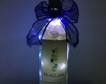 Sea Glass Wine, Wine Bottle Lights, Wine Bottle Decor, Nautical Decor, Maine Sea Glass, Sea Glass Bulk, Sea Glass Art, Home Decor
