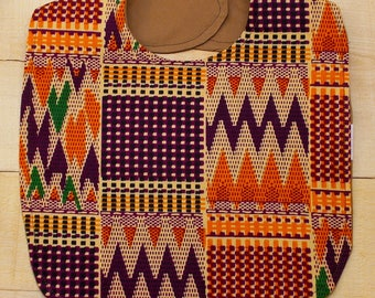 Orange Burgundy & Black African Kente Print Baby Bib