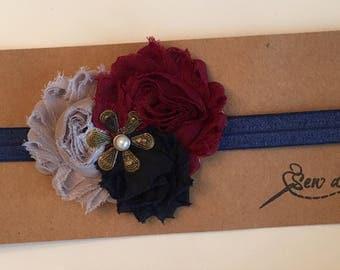 Flower Hair Bow, Flower Headband, Baby Bow or Headband, Navy Clip or Headband, Gray Clip or Headband, Maroon Clip or Headband
