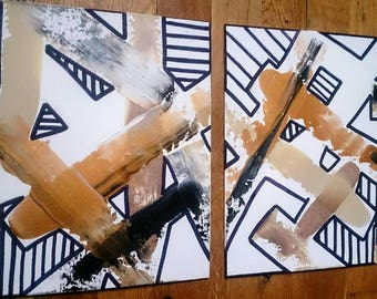 Abstract Painting Set of Two on Canvas Painting Original Art Gold Black Shapes Set of 2 Paintings / Art Gift Set Wall Art Wall Painting