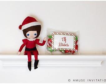 Elf Kisses, Elf Candy, Christmas Elf Kisses, Christmas Elf Accessories, Santa's Elf Prop, Elf Printable, Christmas Elf Ideas, Easy Elf Ideas